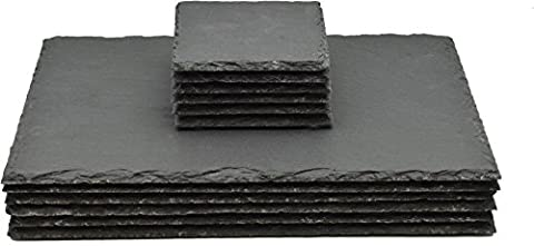 Argon Tableware Square / Rectangular Natural Slate Placemat Set - 6 Coasters & 6 Placemats