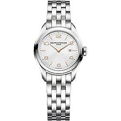 Baume & Mercier Clifton Reloj de mujer cuarzo suizo 30mm correa de acero 10175