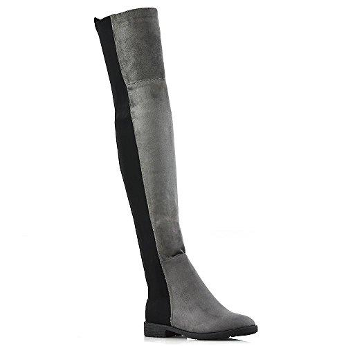 ESSEX GLAM Damen über dem Knie Stiefel Frau Grau Wildlederimitat Flache Ferse Dehnbar Oberschenkel Hohe Stiefel EU 38 (Ferse Stiefel Lange)