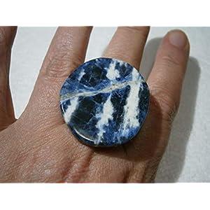 Ring blau mit großem Stein Sodalith in jeansblau weiß maritim boho