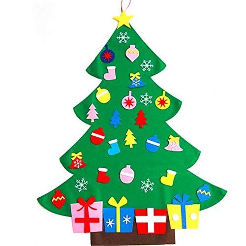 hutiee 3ft conjunto de árbol de Navidad de fieltro de con 26Ornements desmontables de regalo de Navidad para Navidad para los niños perchero decoración de pared de puerta par futurepast, verde