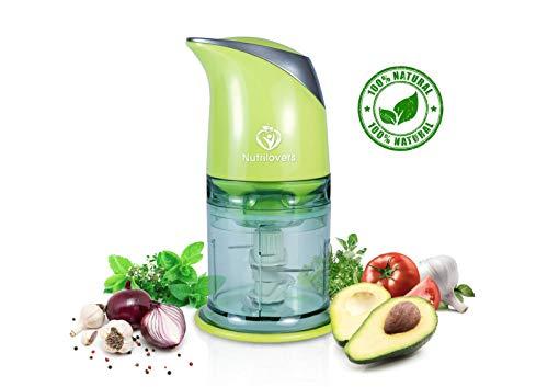 NUTRI-CHOPPER Multizerkleinerer elektrisch | Universalzerkleinerer für Nüsse, Zwiebel, Obst & Gemüse, Fleisch - 400 Watt Zerkleinerer | 4-Klingen Edelstahl | Mixbehälter (500ml)