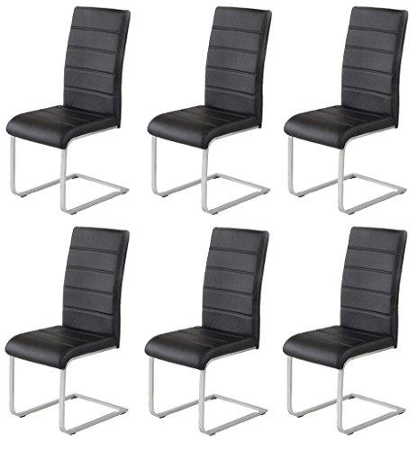 6 x Agionda ® Design Stuhl Freischwinger Jan Piet PU Kunstleder schwarz NEU Jetzt 120 kg belastbar Gestell einteilig Polsterstuhl Esszimmerstuhl auch als 4er Set Freischwinger schwarz erhältlich