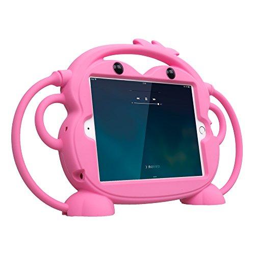 Ipad Mini 4/3/2/1 Hülle, CHINFAI doppelseitigen AFFE Cartoon Shockproof Silikon Tablet Schutzhülle, mehrere Sichtwinkel freistehende Abdeckung für Apple 7,9 Zoll IPad Mini 1/2/3/4 (Rose)