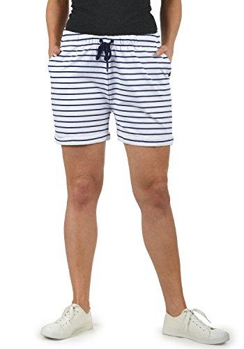 DESIRES Lena Damen Sweatshorts Bermuda Shorts Kurze Hose Mit Stretch-Material Und Streifen-Muster Regular Fit, Größe:M, Farbe:White/Ins (0001I) -