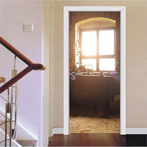 Tür Wandbild Vintage Tür Aufkleber Fenster Alte Sonne Licht Kreative Wandaufkleber Schlafzimmer Dekoration Wohnzimmer Wandhauptdekor Papier Poster 77X200 Cm