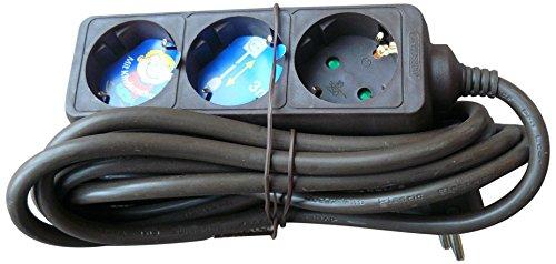 REV Ritter 0512247555 Steckdosenleiste 3-fach mit Kinderschutz 3 m, schwarz