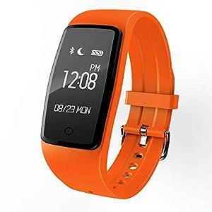 Winnes Fitness Tracker, S1 Smart Bluetooth Wristband Podometer Smart Wristband Sleep Monitor, reloj de pulsera resistente al agua con monitor de frecuencia cardíaca para Android e IOS Orange 2