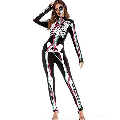 (URSING Damen Scary Halloween 3D Schädel Viscera Blut Print Bodycon Party Cosplay Kostüm Overall Jumpsuits Catsuit mit Skelett Aufdruck Bodysuit Langarm Playsuit Body Clubwear (Schwarz,L))