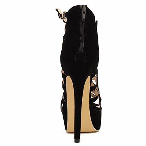 QIYUN.Z Les Femmes D'Ete Creusent Nobles Plate-Forme De Fermeture Glissiere Sandales Talons Aiguilles Chaussures Hauts Noir