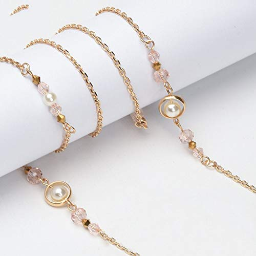 LIUYAWEI Brillenbügel Kristall Perlen Charm Gold Metall Brillenkette Lesebrille Cord Halter Umhängeband Seil Geschenk