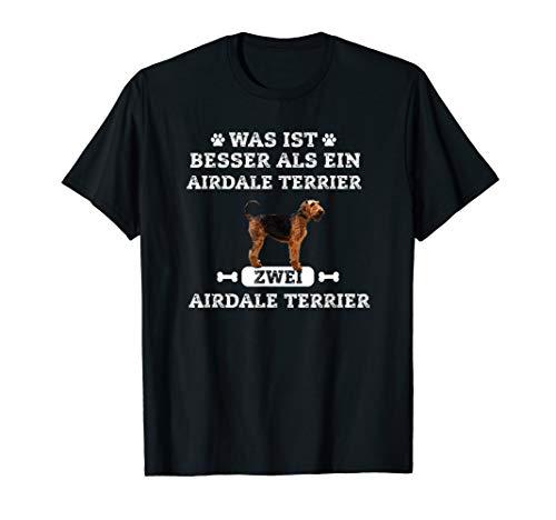 Zwei Airedale Terrier Hunde Tshirt - Damen Herren Geschenk - Terrier-damen T-shirt