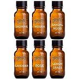 Pure Source India Aroma Diffuser Oil (Lavender, Lemongrass, Rose, Jasmine, Sandalwood and Mogra), 15ml Each, Multicolour - Set of 6