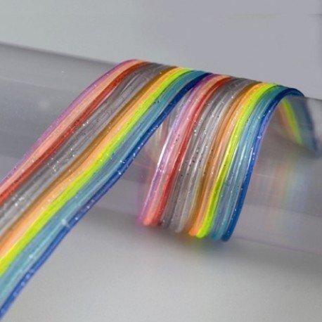 Beutel mit 12 Schlaufen scoubidous transparente Pailletten, bunt