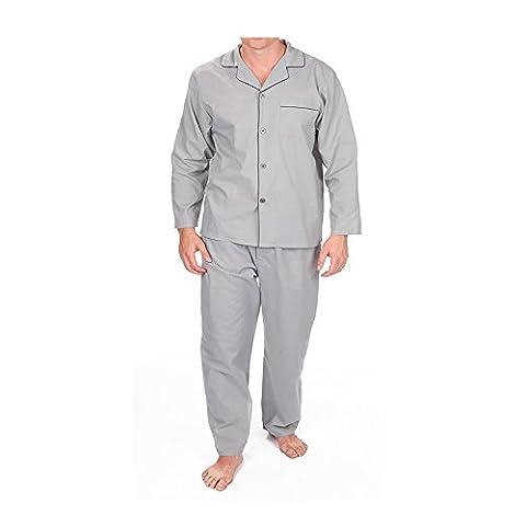 Army And Workwear Herren Schlafanzug, Einfarbig Gr. L, hellgrau