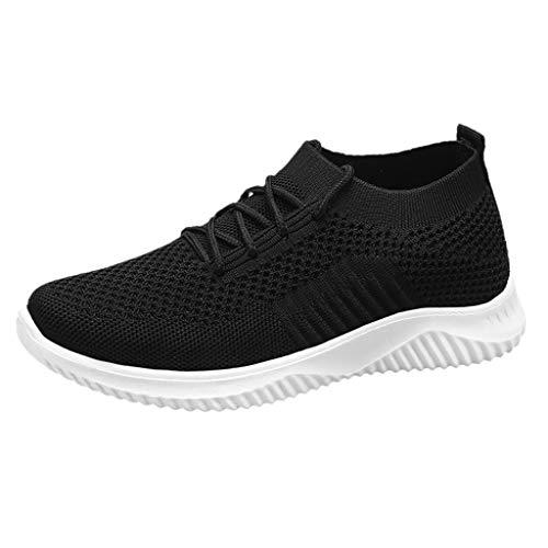 Xuthuly Frauen beiläufige Breathable Ineinander greifen-Turnschuhe Normallack-rutschfeste Socken-Schuhe Bequeme weiche Kursteilnehmer-laufende Sportschuhe