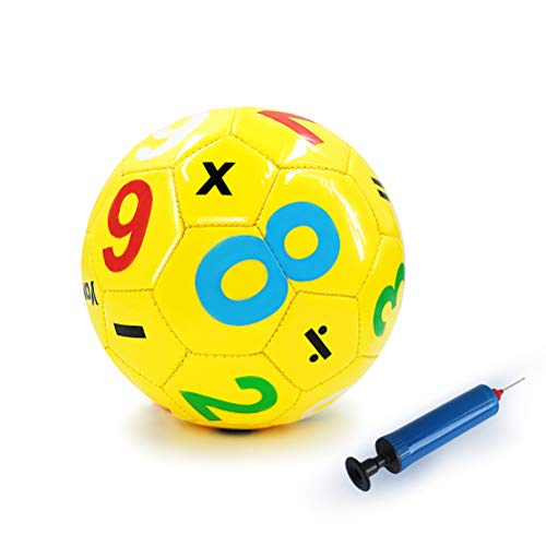 Aoneky Gummi Fußball für Kinder, Spielzeugball &Trainingsfußball, mit Luftpumpe, gelb