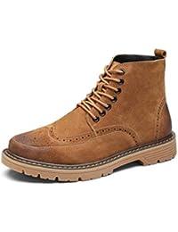 Hombres Botas Martin Botas con Cordones De Cuero Zapatos De Ocio para Hombre Suela Oxford Botines