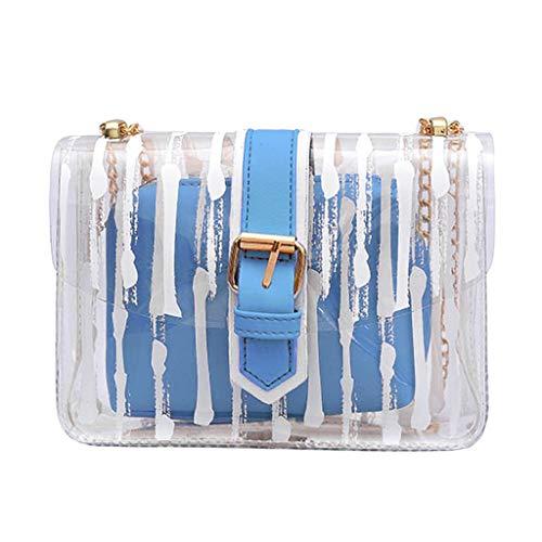 holitie Women Handtasche Schultertasche Shopper Taschen Umhängetasche, Messenger Striped Crossbody Bag Chains Candy Color Jelly Bag 2Pcs Handbag