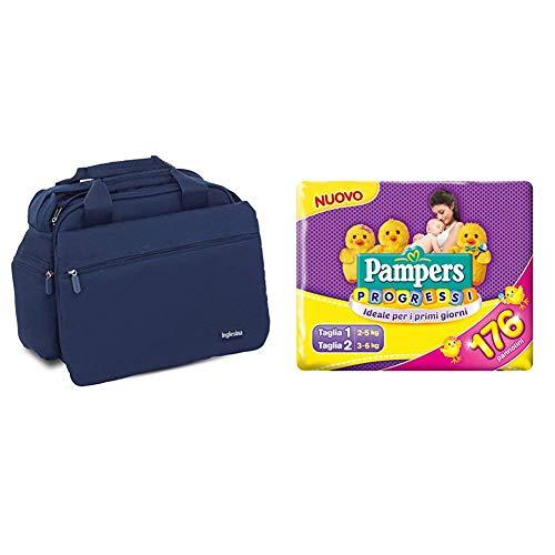 Inglesina My Baby Bag Borsa Fasciatoio, Blu (Blue) + Pampers Progressi Primi Giorni, 56 Pannolini Taglia 1 (2-5 kg) e 120 Pannolini Taglia 2 (3-6 kg)