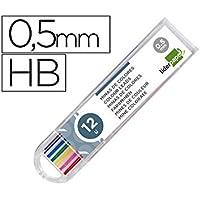 Liderpapel 952401 Minas de colores, de 0,5 mm para lápices mecánicos, 12 minas de colores variados