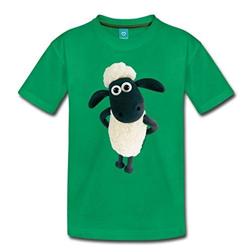 Spreadshirt Shaun Das Schaf Stehend Kinder Premium T-Shirt, 98/104 (2 Jahre), Kelly Green