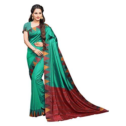 Craftsvilla Women's Silk Blend saree with Zari Work Traditional Green color with...