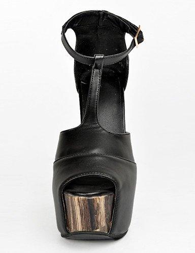 WSS 2016 Chaussures Femme-Soirée & Evénement-Noir-Gros Talon-Talons / Bout Ouvert-Chaussures à Talons-Polyuréthane black-us9 / eu40 / uk7 / cn41