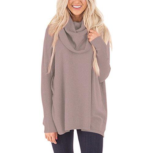 MEI&S Donna di grandi dimensioni allentato Casual Knit Top Jumper Pullover maglione felpe Khaki