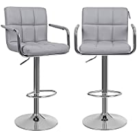 SONGMICS Bar Stools Set of 2, Height Adjustable Bar Chairs in Synthetic Leather, 360° Swivel Kitchen Stool with Backrest and Footrest, Grey LJB93GUK