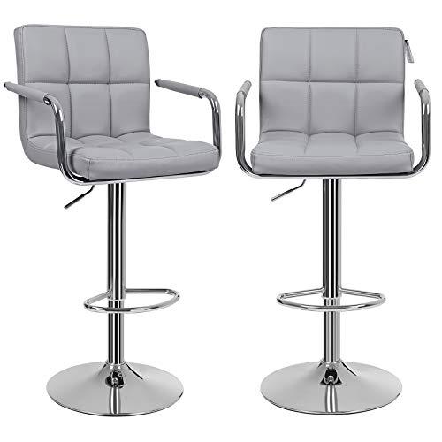Songmics 2 x Barhocker mit Armlehnen Lehne Belastbar bis 200 kg, Lederimitat, grau, 55 x 52,2 x 49 cm - Neue Bar Hocker Stuhl
