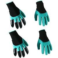 ounona 2pares jardín Genie guantes con garras sobre derecho mano para cavar