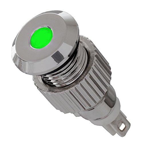 12V LED Signalleuchte IP67 grün mit 8mm Metallfassung Signallampe - Led-meldeleuchte