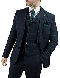 Cavani Kemson Navy Men 3 Piece Tweed Suit