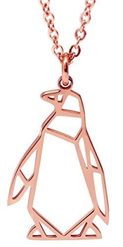 Hanfly Pinguin-Halskette, 18 Karat Rotgold, geometrischer Origami-Schmuck, 41,9 cm + 3,8 cm Verlängerung