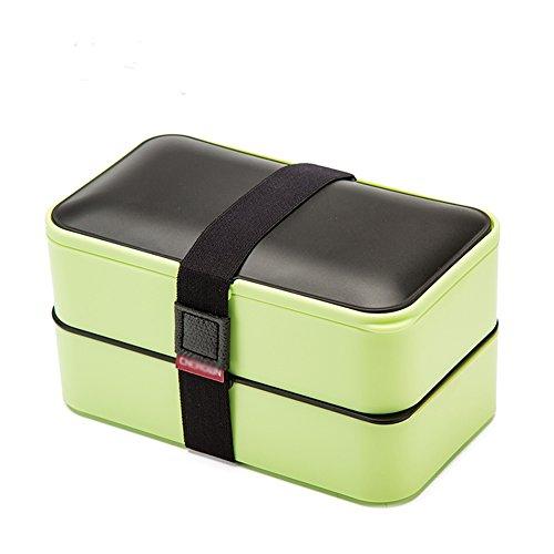 Loiofoe one contenitore porta pranzo tipo bento, impilabile, a 2ripiani + appunti per pranzo, posate, bacchette, 4colori disponibili, di alta qualità, antiperdite, per adulti e bambini, green, 185*102*109mm