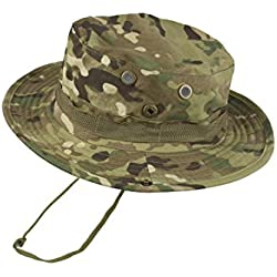 QHIU Tactico Militar Boonies Sombreros Camuflaje Redondo Hat Anti-UV para Pescar Camping Paintball Deportes al Aire Libre Hombre Mujer Unisex