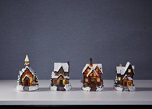 4 er Set ( = 4 Stück ) Märchenhaftes weihnachtliches Dorf mit Kapelle / Small Village mit LED Beleuchtung - bestehend aus 3 beleuchteten LED - Weihnachtshäusern, und 1 LED - Kirche / Kapelle - Höhe je ca. 10 cm, aus Kunstharz kunstvoll gefertigt - wunderschönes stimmungsvolles Dekorationslicht mit schönen sanften Lichtern - Größe je Haus ca. 10 x 8 cm , mit Batteriebetrieb , für den Innen - Bereich - aus dem KAMACA-SHOP - Herbst Winter Advent Weihnachten