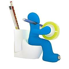 Idea Regalo - TAOtTAO sedile WC multifunzionale porta nastro penna note portagraffette, Sky Blue, 14.6*6.1*14cm
