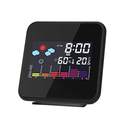 King Boutiques Weather Clock Hygrometer-Feuchtethermometer Temperatur-Wetterstation Wecker Wirelss-Wetterstation Haushaltsgegenstände