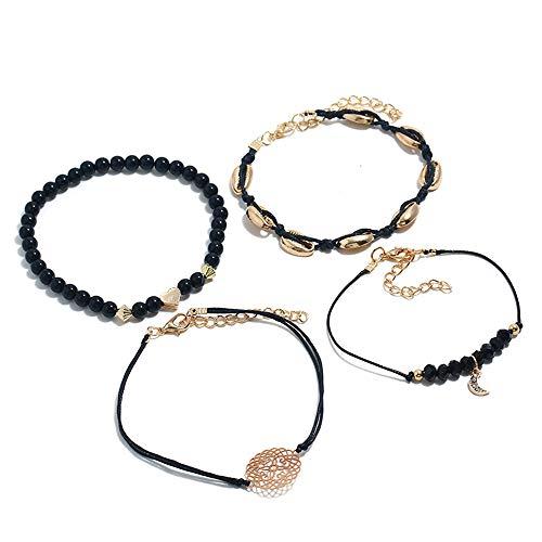 ZQword 5 stücke Böhmischen Shell Mond Armband Set Fashion Pop Armband für Frauen Paar Geschenk Vintage Armband Partei ()