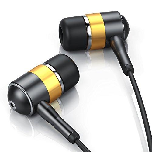 CSL - in-Ear Alu Kopfhörer/Earphone | widerstandsfähiges Aramid-Kabel | optimierter Knickschutz | 8mm Schallwandler EP Bass | Anthrazit - Gold