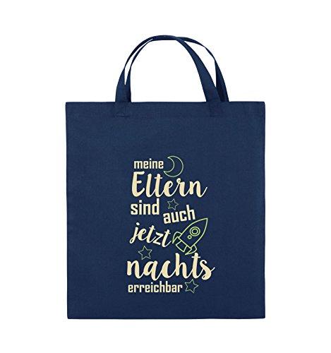 Comedy Bags - Meine Eltern sind jetzt auch nachts erreichbar. - Jutebeutel - kurze Henkel - 38x42cm - Farbe: Schwarz / Weiss-Neongrün Navy / Beige-Hellgrün