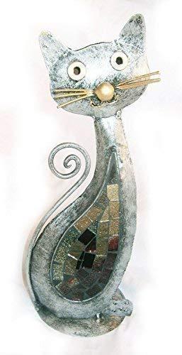 Chat Forme Acier Bougie / Thé Lumière, Support Couleur Argent Main Fabriqué en Bali Mosaïque Miroir Décoration
