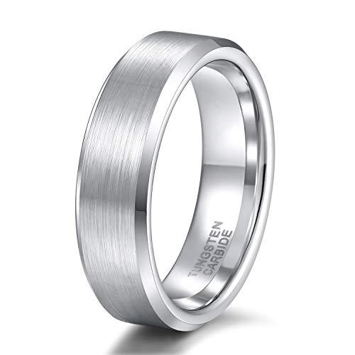 Titaniumcentral Damen Herren Ringe aus Wolframcarbid Gebürstet Schwarz Verlobungsringe Trauringe (6mm(Wolframcarbid)-Silber, 47 (15.0))