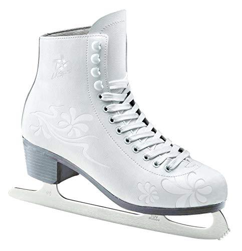 L.A. Sports Schlittschuh Damen und Mädchen Kunsteislaufschuh weiß l Eislaufschuhe gefüttert l Jugend + Erwachsene Größe 42/43 -