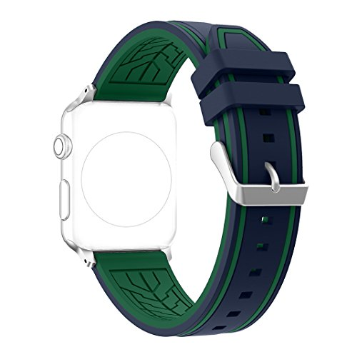 Correa Apple Watch 38mm, Rosa Schleife Silicona Suave Reempalzo Banda Sport Wristband iwatch Strap Deportiva Reemplazo Correa de Reloj para Apple Watch Series 2 , Series 1, Sport, Edition - Azul & Verde