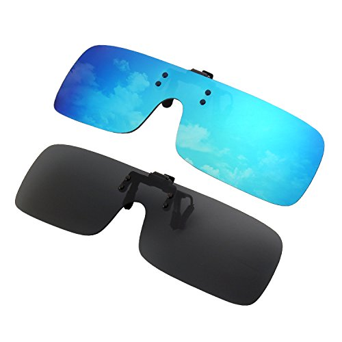 GQUEEN Polarized Clip-on Flip Up Rimless One Piece Lens Outdoor Driving Fishing Sunglasses for Prescription Glasses,JP68