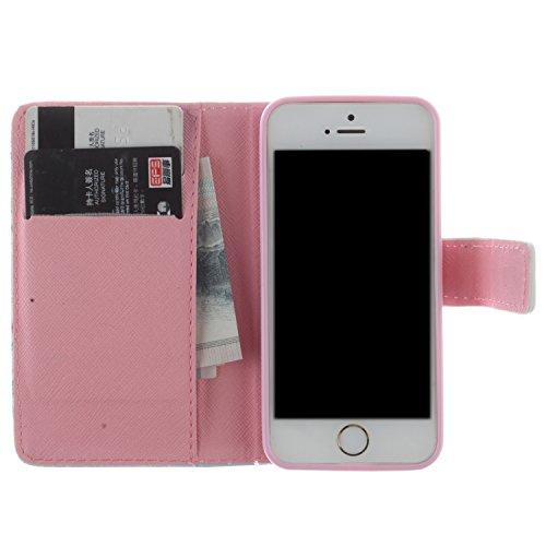 CaseLike Colored disegno Premium PU Pelle Flip Custodia Protettiva Case Cover Per Apple iPhone 55S Wallet con Card Slots & Cash Scomparto, Supporto dual Shell iphone55s#1 iphone55s#134