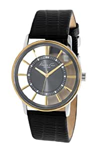 Kenneth Cole Men's Quartz Watch with Grey Dial Analogue Display and Black Leather Strap KC1896